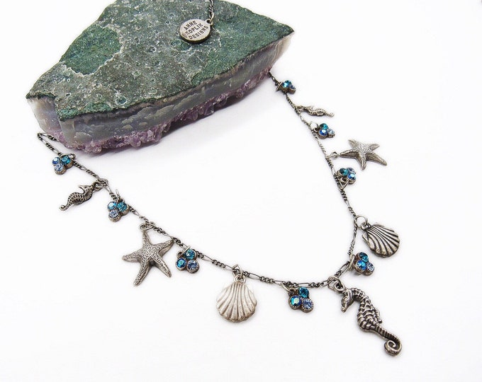 Anne Koplik Designs vintage Sterling Silver plated faceted Crystal Ocean theme Sea Life signed charm necklace