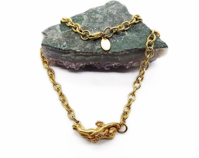 Kirks Folly Vintage brilliant Golden tone chain with Winged Cherub signed Choker necklace