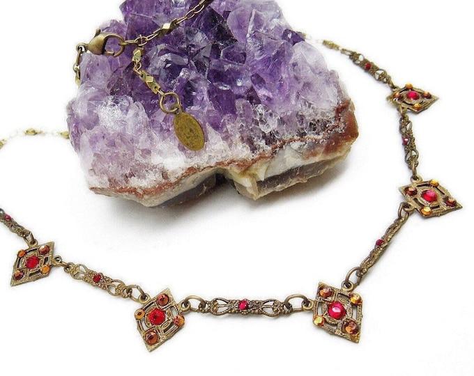 Anne Koplik Designs vintage Art Deco Revival antiqued Brass tone faceted Swarovski Crystal signed Designer Bib Necklace