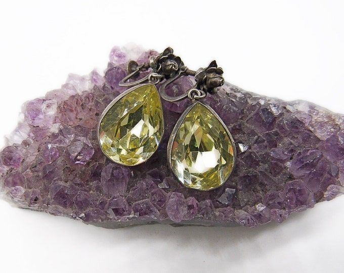 Gorgeous antique 1900s-1920s high quality Citrine paste stone sterling silver rose screw back signed drop earrings