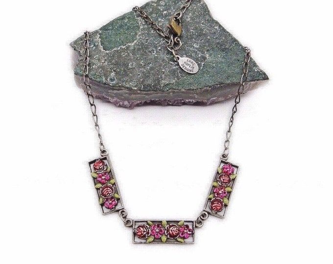 Anne Koplik Designs Vintage 1990s antiqued silver tone faceted Swarovski Crystal Floral Enamel signed Choker necklace