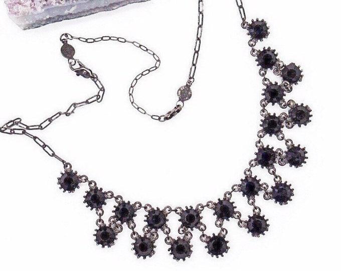 Vintage signed Mariana jet black Austrian Crystal antiqued bronze tone bib necklace