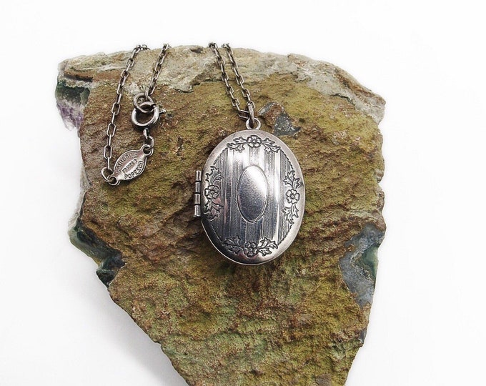 Catherine Popesco of France Victorian revival sterling silver plated decorative signed Locket necklace