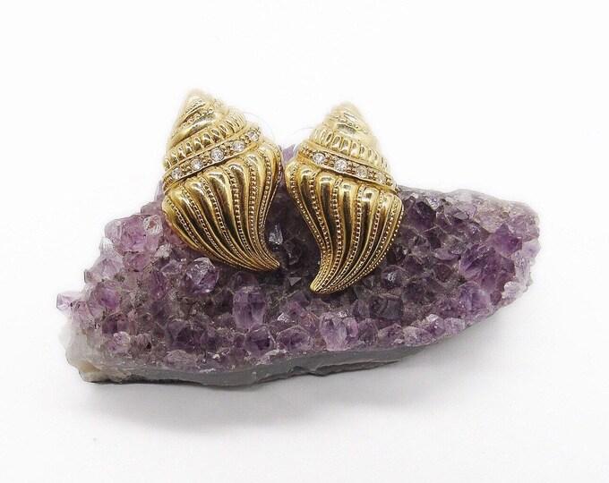 Vintage KJL Kenneth J Lane for Avon 1980s gold tone and rhinestone Conch seashell signed pierced earrings