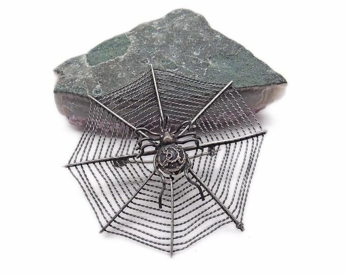 Unique vintage MMA Metropolitan Museum of Art Sterling Silver Spider on a spun Spider Web signed designer Brooch