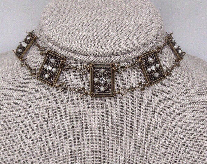 Rare Glass Works Studio Victorian revival antiqued bronze double chain Swarovski crystal and seed pearl signed choker necklace