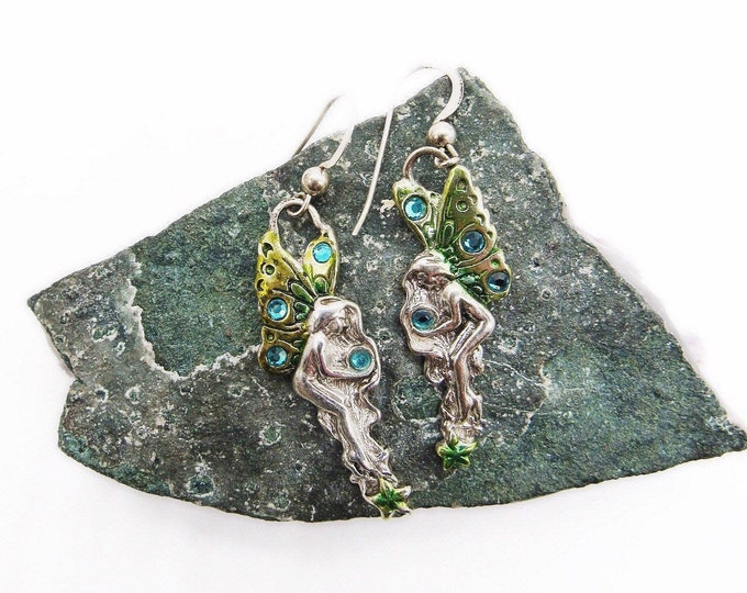 Vintage Whimsical Sterling Silver faceted Crystal hand painted Enamel signed winged Fairy dangle earrings