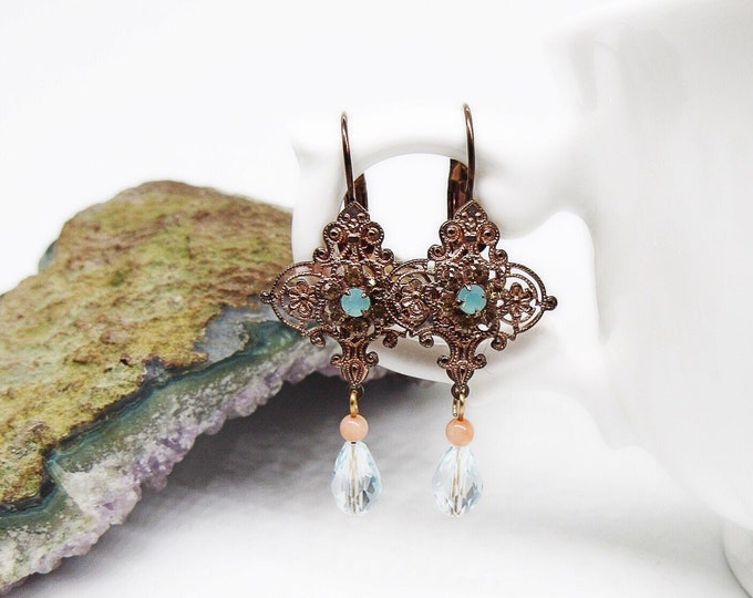 Liz Palacios of San Francisco Vintage antiqued Copper tone Filigree faceted Sea Opal with Topaz blue Crystal signed lever clasp earrings