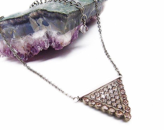 Sorrelli vintage Art Deco revival silver tone faceted Crystal encrusted signed pendant necklace