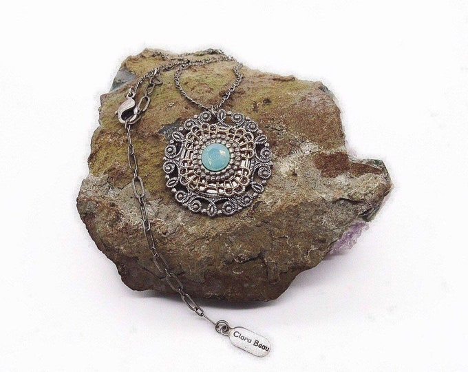 Clara Beau Vintage retired silver tone filigree faceted Sea Opal Crystal signed pendant necklace