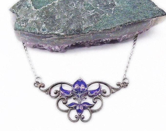Vintage Arts and Crafts Art Nouveau Sterling Silver decorative Enamel Floral Choker Necklace