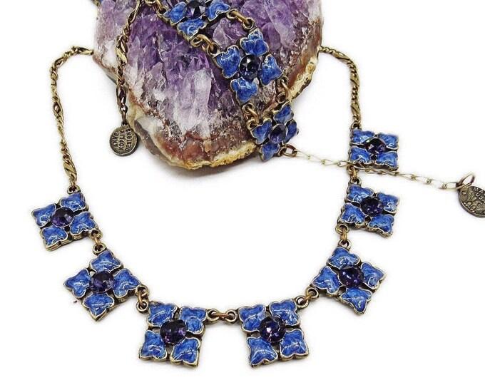 Magical vintage Anne Koplik Designs antiqued Brass tone Lilac Enamel faceted Purple Swarovski Crystal accented Necklace Bracelet Set