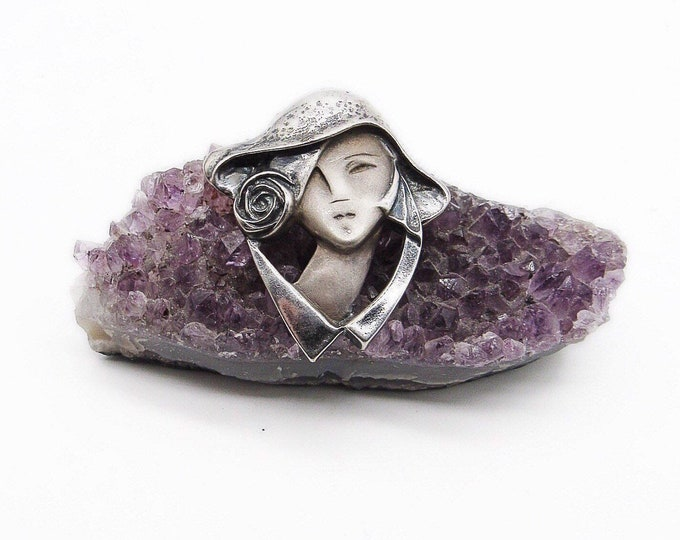 Vintage Sterling Silver Art Nouveau revival Lady in Hat with Rose signed statement brooch