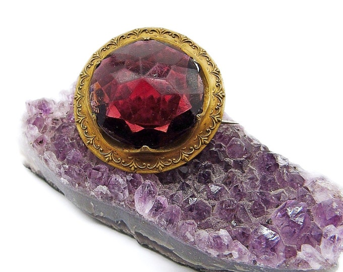 Antique Edwardian decorative Brass round faceted Amethyst Purple Glass statement Brooch