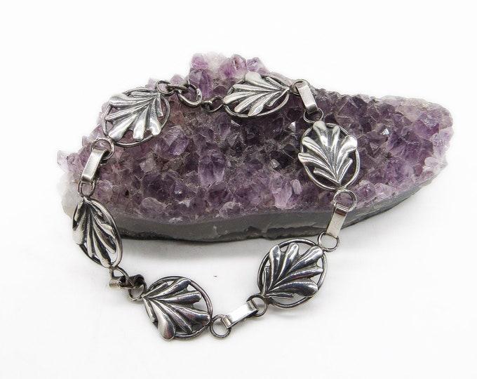 Vintage Art Deco Coro Craft Sterling Silver Shell design signed link bracelet