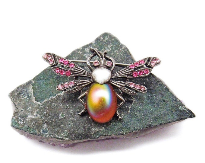 Ben Amun Haute Couture vintage antiqued brass tone faceted Crystal Opalescent glass cabochon signed Firefly Designer Brooch