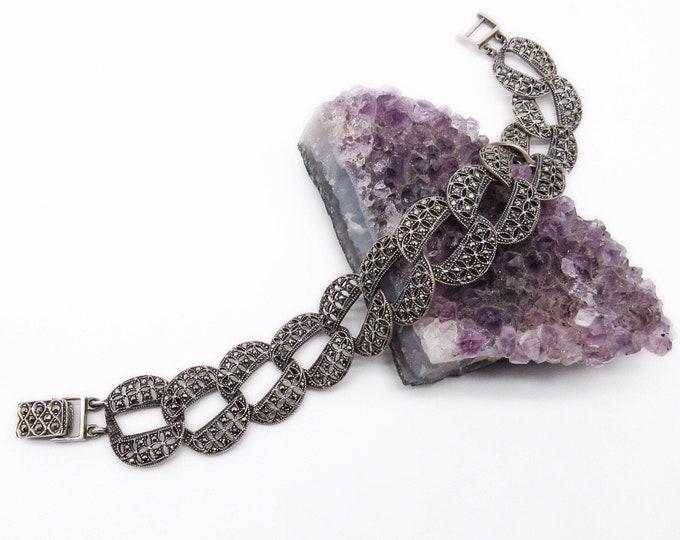 Art Deco style vintage sterling silver marcasite link signed chain bracelet