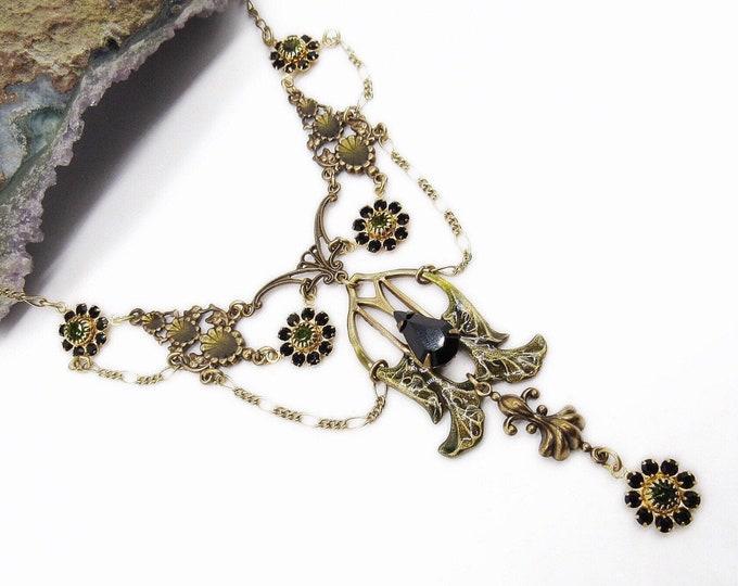 Sadie Green vintage Victorian Art Nouveau Revival antiqued gold tone faceted Crystal with Enamel signed Festoon Necklace