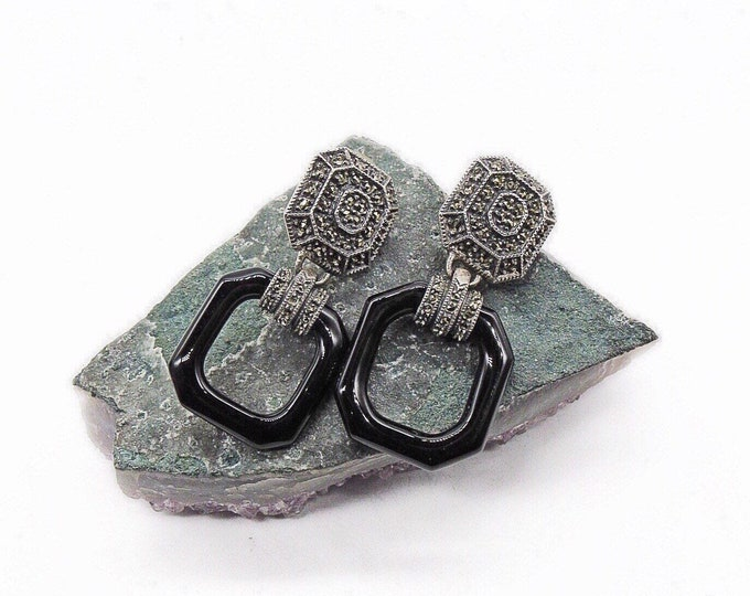 Judith Jack vintage Art Deco Revival Sterling Silver faceted Marcasite with Onyx signed Designer statement Earrings