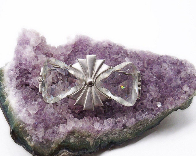 Marvelous 1930s Vintage Art Deco Sterling Silver faceted Quartz Rock Crystal Geometric signed Statement Brooch