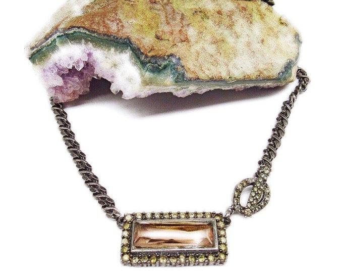 Rare Roxanne Assoulin vintage Runway Silver tone faceted Crystal Designer Toggle Choker Necklace