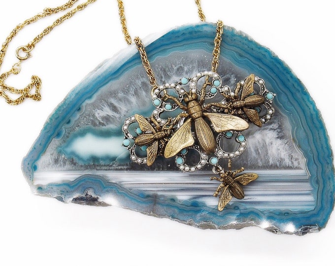 "Miss Ellie NYC Victorian Art Nouveau revival ""Insect Trio"" antiqued brass signed necklace"