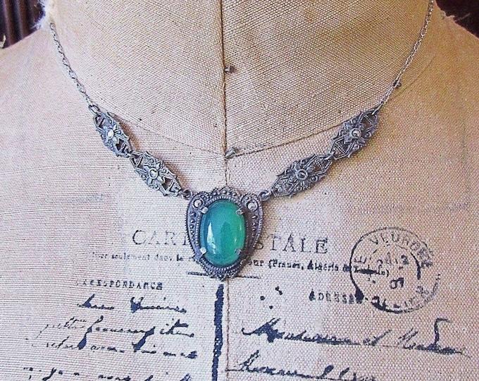 Antique Art Deco sterling silver Marcasite Chrysoprase 1920s signed Estate necklace