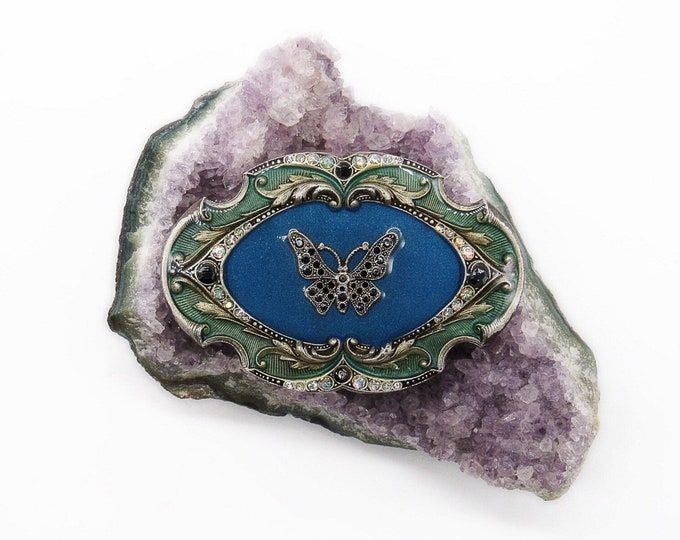 Large! Catherine Popesco of France vintage Art Deco revival antiqued silver tone faceted crystal enameled signed Butterfly brooch