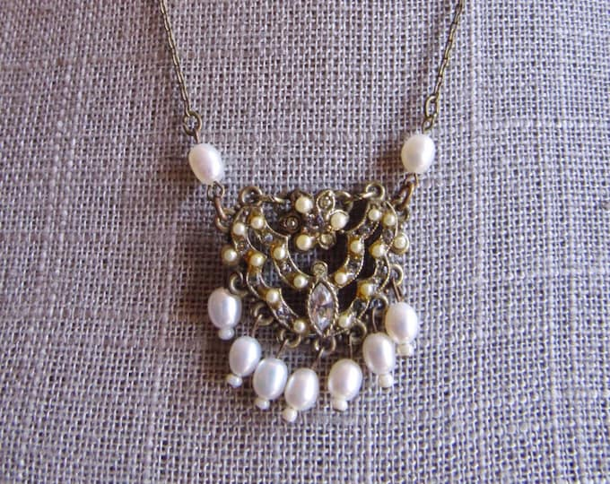 Vintage Roxanne Assoulin Russian gold tone seed pearl Victorian style drop necklace with rhinestone crystals Gorgeous !