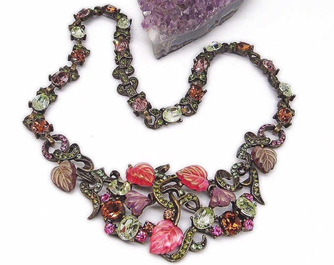 Sweet Romance USA vintage 1950s retro faceted rhinestone and Givre opalescent leaves and flower signed statement necklace