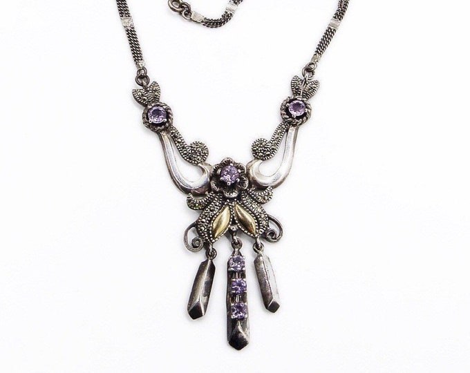 Vintage Victorian style sterling silver marcasite gold plating and Amethyst ornate stamped necklace