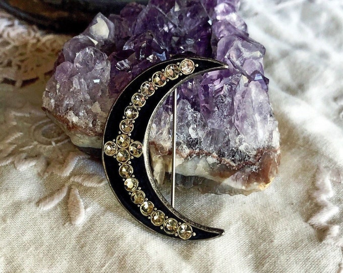 Vintage Catherine Popesco of France antiqued silver tone faceted Crystal accented Jet Black Enamel stamped Crescent Moon Statement Brooch