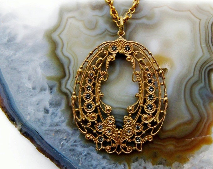La Vie Parisienne Catherine Popesco of France retired Edwardian Revival gold plated faceted Swarovski Crystal accented Pendant Necklace