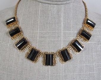 Edwardian Art Deco style vintage retired 1928 gold tone black glass panel necklace SALE!