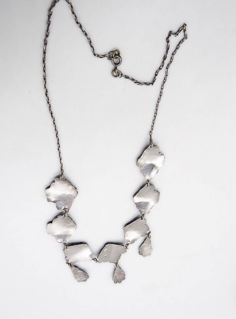 Antique Etruscan Revival Chinese Export Byzantine 860 silver Cannetille Brilliant Blue Enamel Estate bib necklace