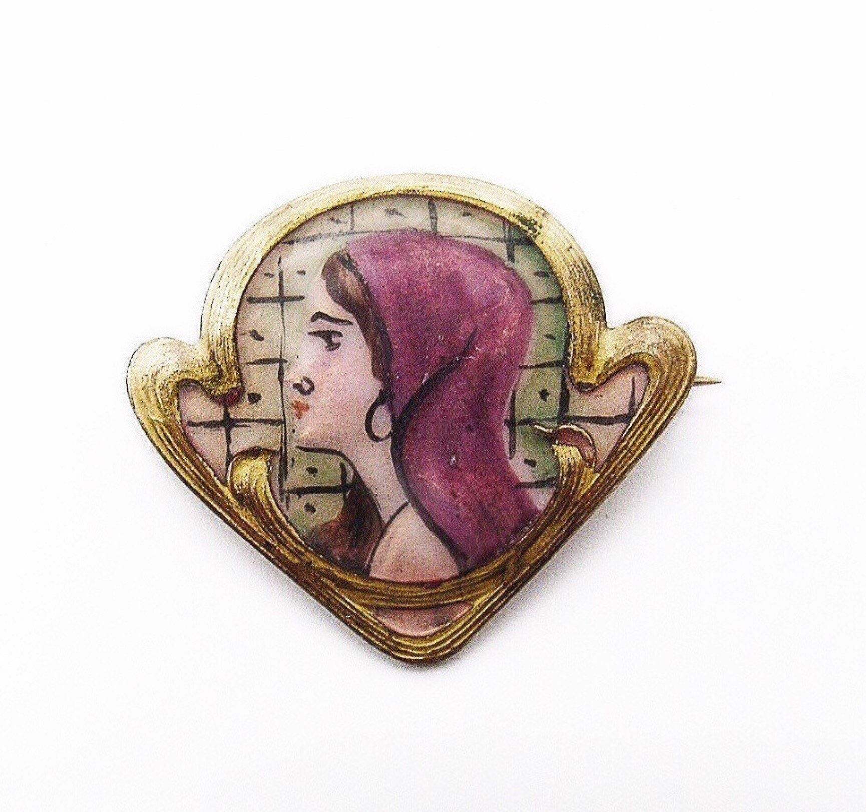Art Nouveau Brooch Rare Scrolled Gold Wash Hand Painted