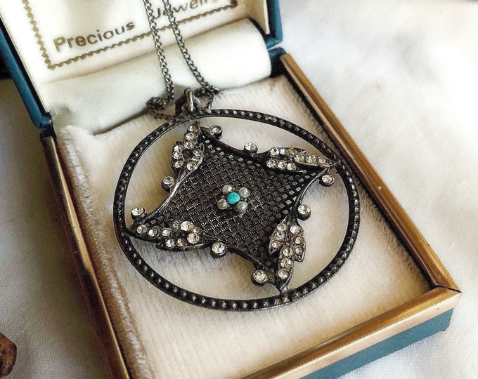 Unique vintage Edwardian Sterling plated faceted Paste Stone Seed pearl and Turquoise accented beautiful Pendant Necklace