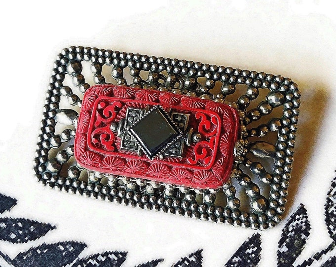 Jan Michaels of San Francisco vintage Art Deco Revival antiqued silver plated decorative faux Cinnabar Hematite accented Brooch
