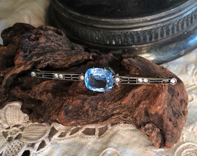 Antique Edwardian Sterling Silver faceted Blue Topaz Diamond accented decorative Bar Brooch