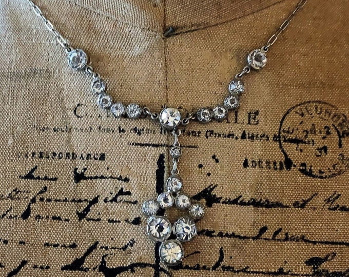 Brilliant antique Edwardian Sterling Silver sparkling faceted open back Paste Stone accented exquisite stamped Lavaliere Necklace