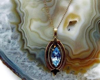 Elegant vintage Mid Century VanDell Gold Filled brilliant sparkling faceted Corn Flower Blue Crystal accented Pendant Necklace