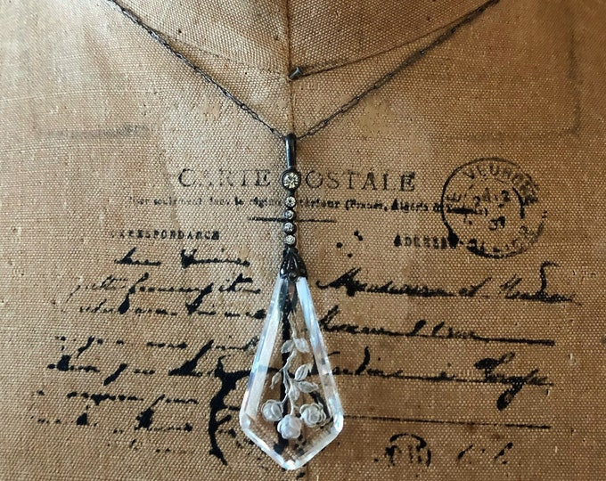 Antique Edwardian 1900s1910s Quartz Rock Crystal Intaglio Brilliant Paste Stone accented Sterling Silver delicate Pendant Necklace