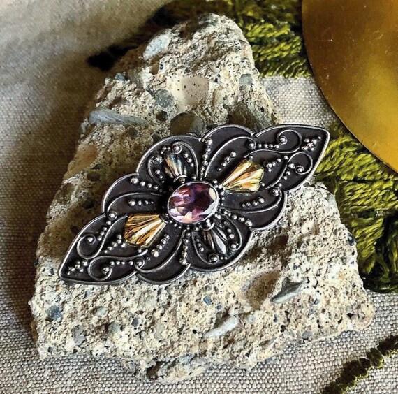 Antique Arts /& Crafts Sterling Silver Turquoise Ornate Leaf Brooch