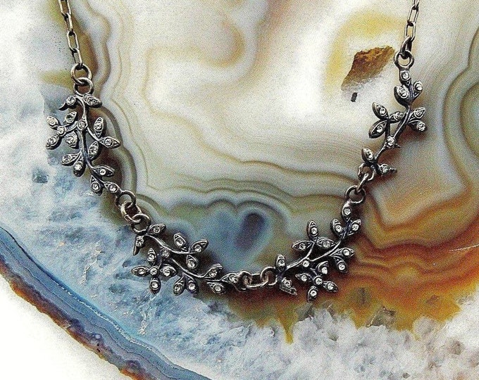 Vintage La Vie Parisienne Catherine Popesco France antiqued silver faceted Crystal accented signed Designer Bib Necklace