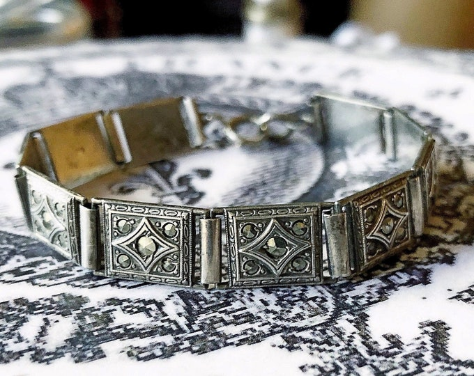 Exquisite antique Edwardian 1910s Ornate Sterling Silver Marcasite accented decorative signed Panel Bracelet
