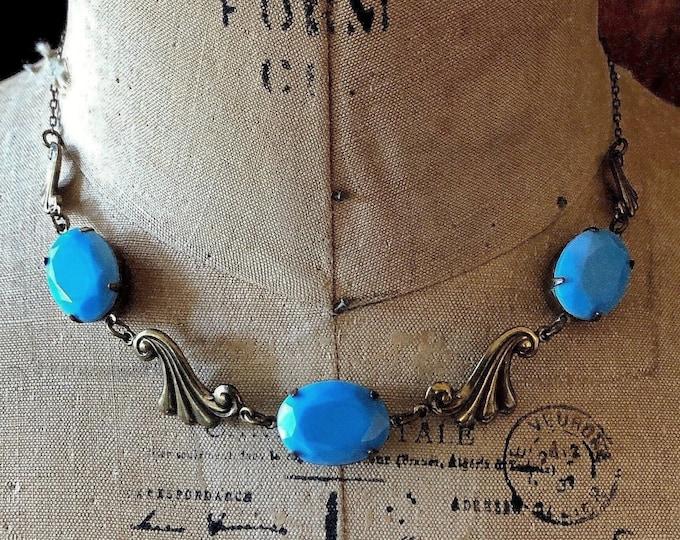 Vintage Sadie Green Art Deco revival antiqued brass tone faceted Milky Blue Crystal signed bib necklace