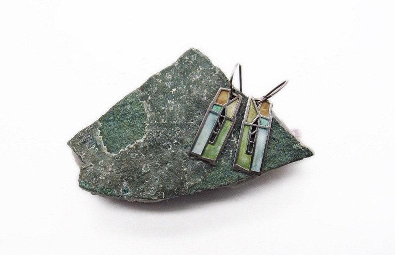 Artisan Carly Wright vintage Modernist Champleve Enamel Sterling Silver Church Window signed dangle earrings