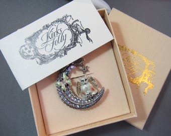 Retired Kirks Folly vintage Luna Angel Kitty crescent Moon silver tone rhinestone brooch with original box!