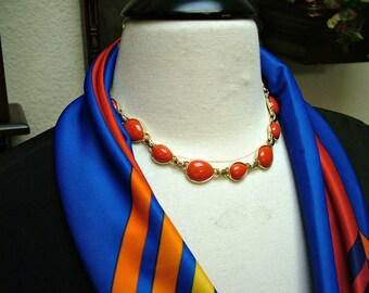 Vintage Napier Lipstick Red Cabochon Collar Necklace