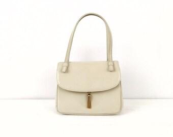 Vintage 1950's Bienen-Davis Ivory Cream Leather Handbag With Gold Tassel Pull Closure Top-Handle Evening Bag Purse
